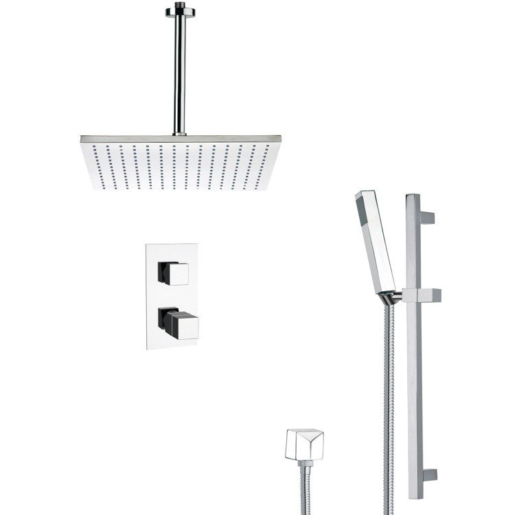 REMER SFR7401 RENDINO MODERN THERMOSTATIC SHOWER FAUCET WITH SLIDE RAIL