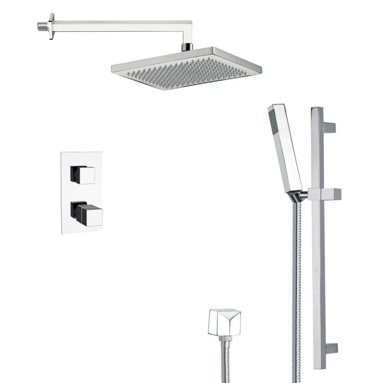 REMER SFR7402 RENDINO MODERN THERMOSTATIC SHOWER FAUCET WITH SLIDE RAIL