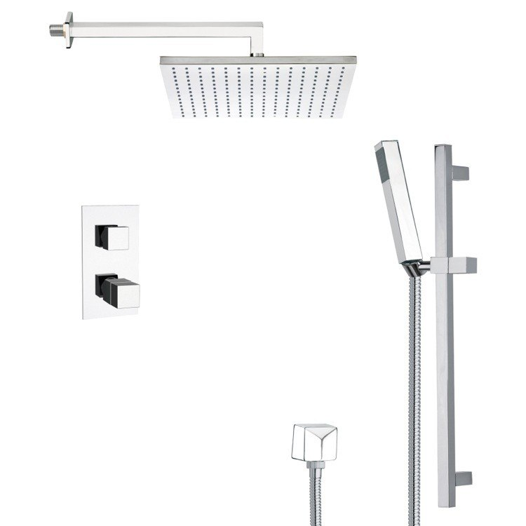 REMER SFR7403 RENDINO MODERN THERMOSTATIC SHOWER FAUCET WITH SLIDE RAIL