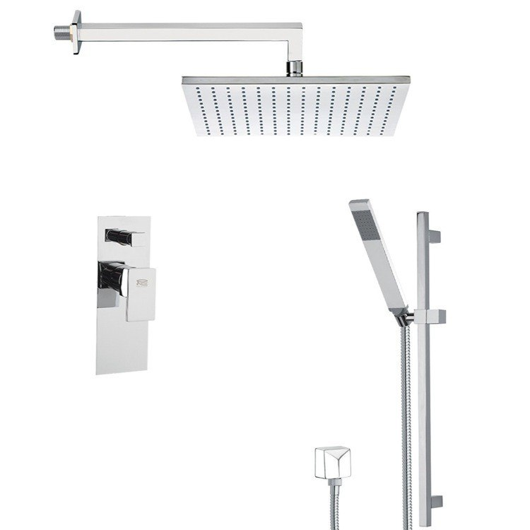 REMER SFR7510 AUTUNNO SQUARE SHOWER FAUCET WITH SLIDING RAIL