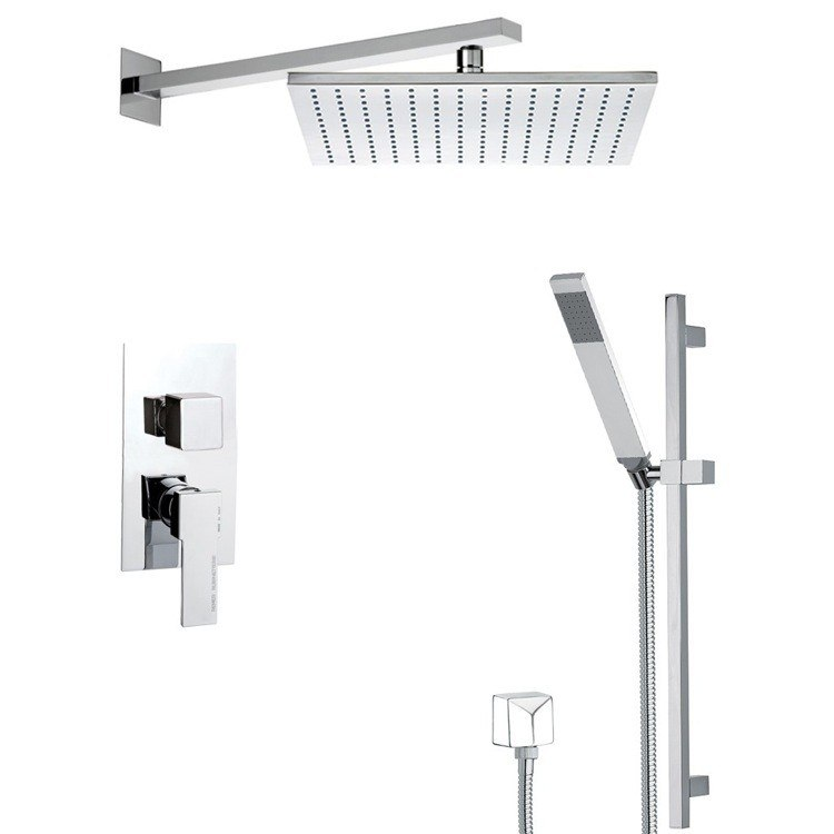 REMER SFR7514 AUTUNNO SQUARE SHOWER SYSTEM WITH SLIDING RAIL