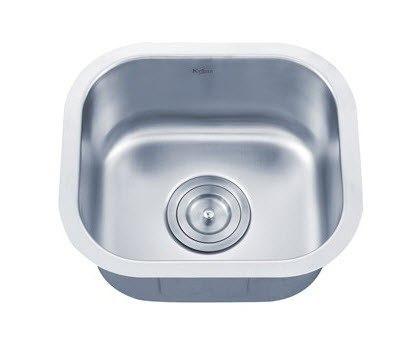Kraus KBU17 15 Inch Undermount Single Bowl 18 gauge Stainless Steel Kitchen Sink