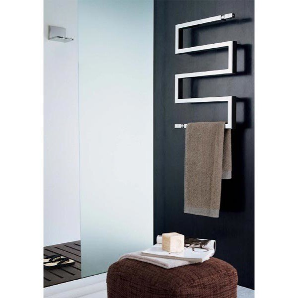 Alpine Modern Heated Towel Rail Warmer Chrome: Scirocco Snake 50-9010 Hydronic Bathroom Radiator