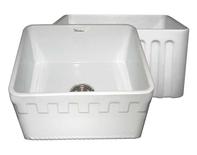WHITEHAUS WHFLATN2018 REVERSIBLE SERIES 20 INCH FIRECLAY SINK W/ AN ATHINAHAUS FRONT APRON/FLUTED FRONT APRON