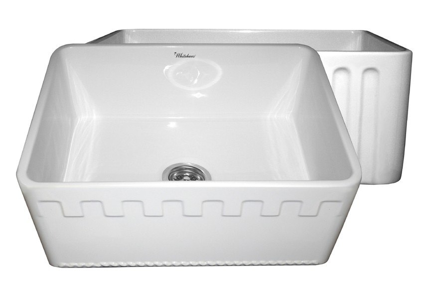 WHITEHAUS WHFLATN2418 REVERSIBLE SERIES 24 INCH FIRECLAY SINK W/ AN ATHINAHAUS FRONT APRON/FLUTED FRONT APRON