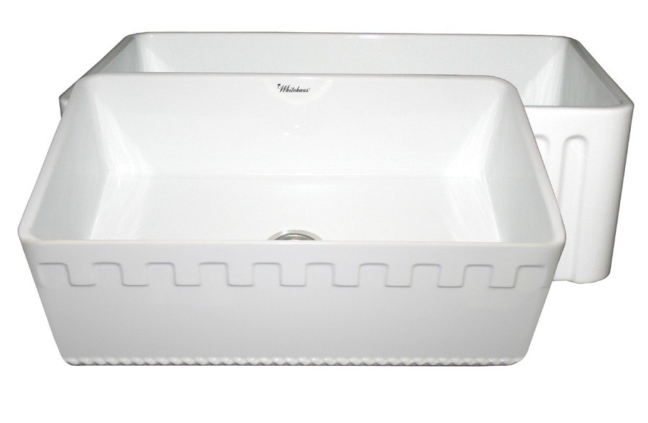 WHITEHAUS WHFLATN3018 REVERSIBLE SERIES 30 INCH FIRECLAY SINK W/ AN ATHINAHAUS FRONT APRON/FLUTED FRONT APRON