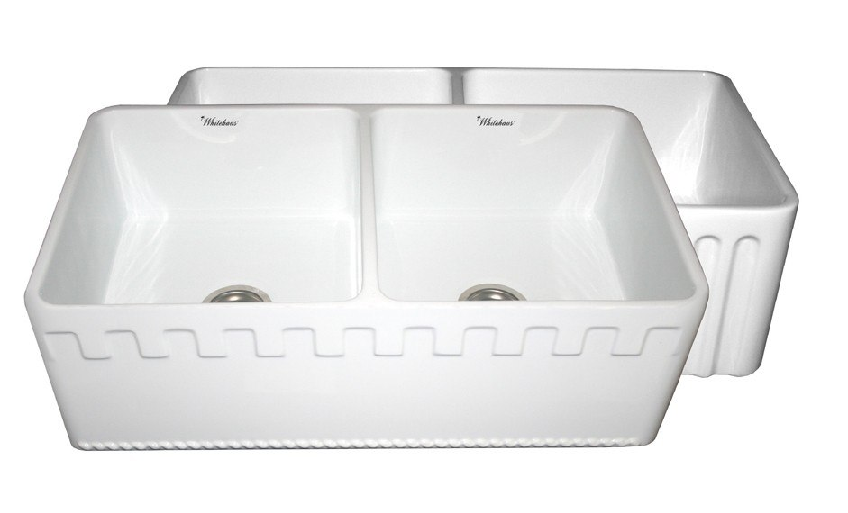 WHITEHAUS WHFLATN3318 REVERSIBLE SERIES 33 INCH FIRECLAY SINK W/ AN ATHINAHAUS FRONT APRON/FLUTED FRONT APRON
