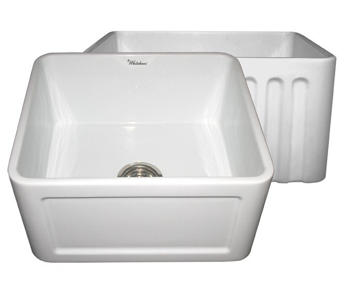 WHITEHAUS WHFLCON2018 REVERSIBLE SERIES 20 INCH FIRECLAY SINK W/ CONCAVE FRONT APRON / FLUTED FRONT APRON