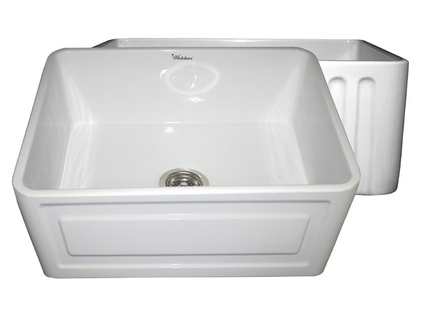 WHITEHAUS WHFLCON2418 REVERSIBLE SERIES 24 INCH FIRECLAY SINK W/ CONCAVE FRONT APRON / FLUTED FRONT APRON