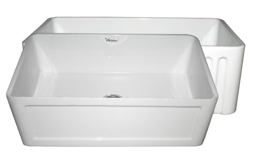 WHITEHAUS WHFLCON3018 REVERSIBLE SERIES 30 INCH FIRECLAY SINK W/ CONCAVE FRONT APRON / FLUTED FRONT APRON