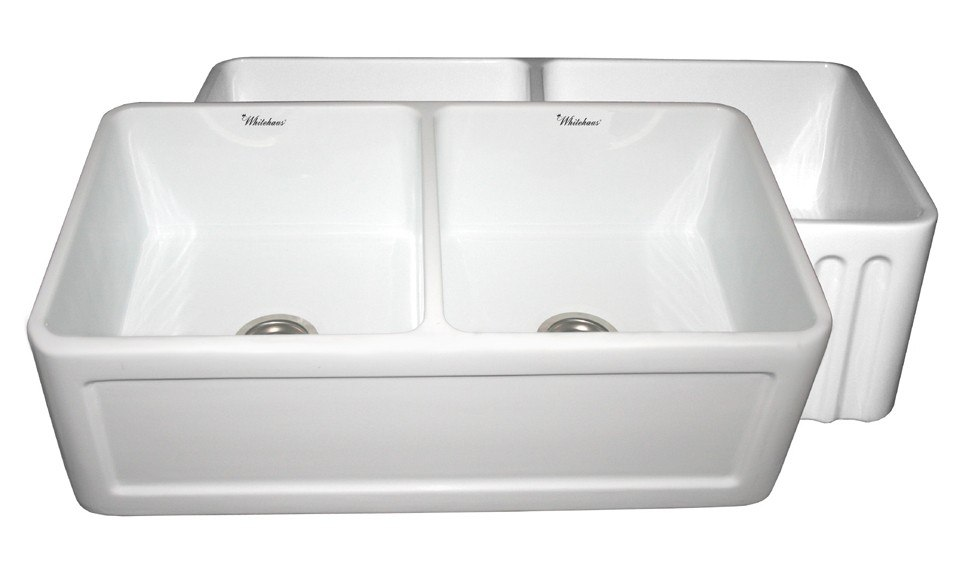WHITEHAUS WHFLCON3318 REVERSIBLE SERIES 33 INCH DOUBLE BOWL FIRECLAY SINK W/ CONCAVE FRONT APRON / FLUTED FRONT APRON