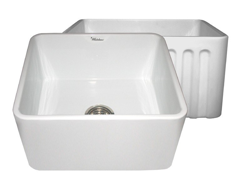 WHITEHAUS WHFLPLN2018 REVERSIBLE SERIES 20 INCH FIRECLAY SINK W/ SMOOTH FRONT APRON / FLUTED FRONT APRON