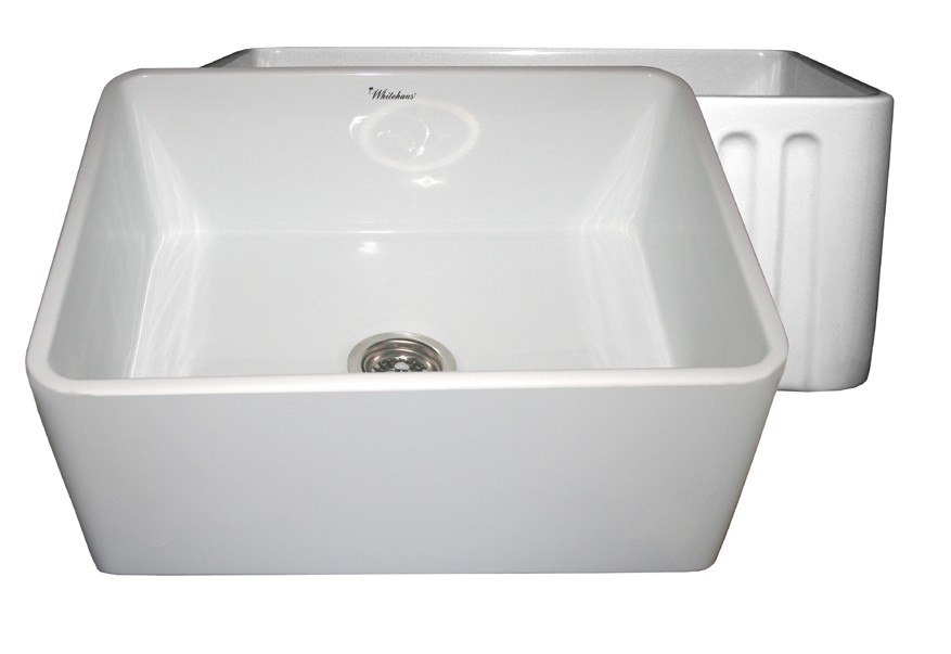 WHITEHAUS WHFLPLN2418 REVERSIBLE SERIES 24 INCH FIRECLAY SINK W/ SMOOTH FRONT APRON / FLUTED FRONT APRON