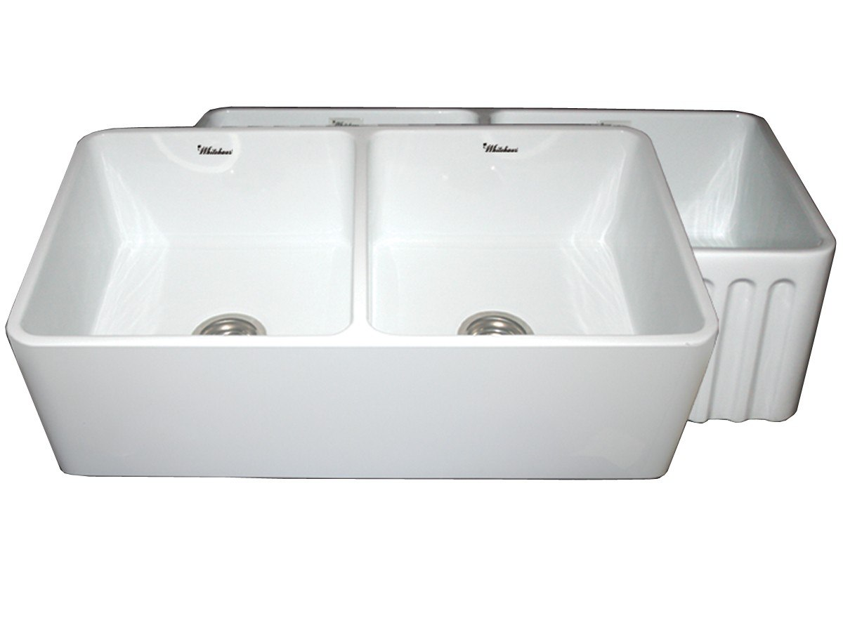WHITEHAUS WHFLPLN3318 REVERSIBLE SERIES 33 INCH FIRECLAY SINK W/ SMOOTH FRONT APRON / FLUTED FRONT APRON
