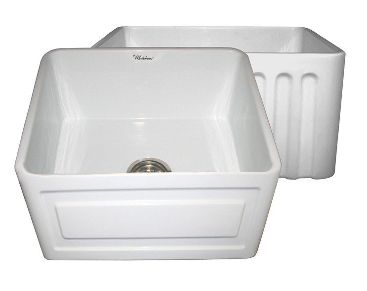 WHITEHAUS WHFLRPL2018 REVERSIBLE SERIES 20 INCH FIRECLAY SINK W/ RAISED PANEL FRONT APRON / FLUTED FRONT APRON