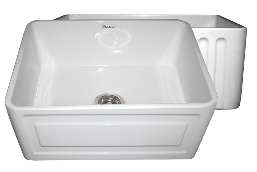 WHITEHAUS WHFLRPL2418 REVERSIBLE SERIES 24 INCH FIRECLAY SINK W/ RAISED PANEL FRONT APRON / FLUTED FRONT APRON