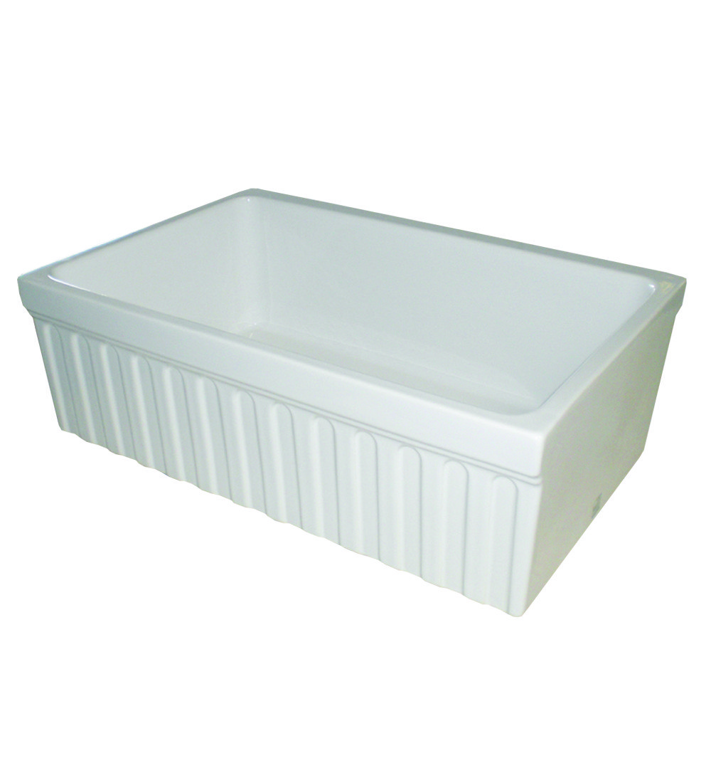 Whitehaus WHQ330 Quatro 30 Inch Alcove Reversible Fireclay Sink w/ Fluted Front Apron