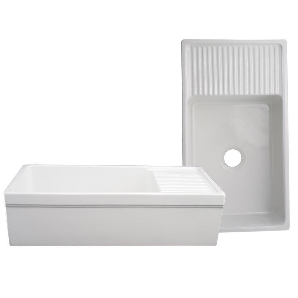 Whitehaus WHQD540 Large Quatro Alcove Reversible Fireclay Sink w/ Integral Drain Board
