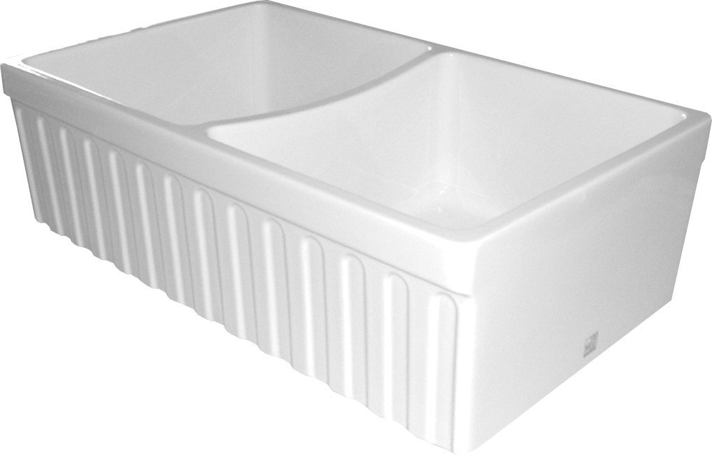 WHITEHAUS WHQDB332 QUATRO 33 INCH ALCOVE REVERSIBLE DOUBLE BOWL FIRECLAY SINK W/ FLUTED FRONT APRON
