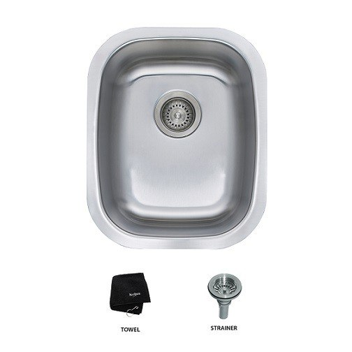 Kraus KBU16 15 Inch Undermount Single Bowl 18 Gauge Stainless Steel Kitchen Sink