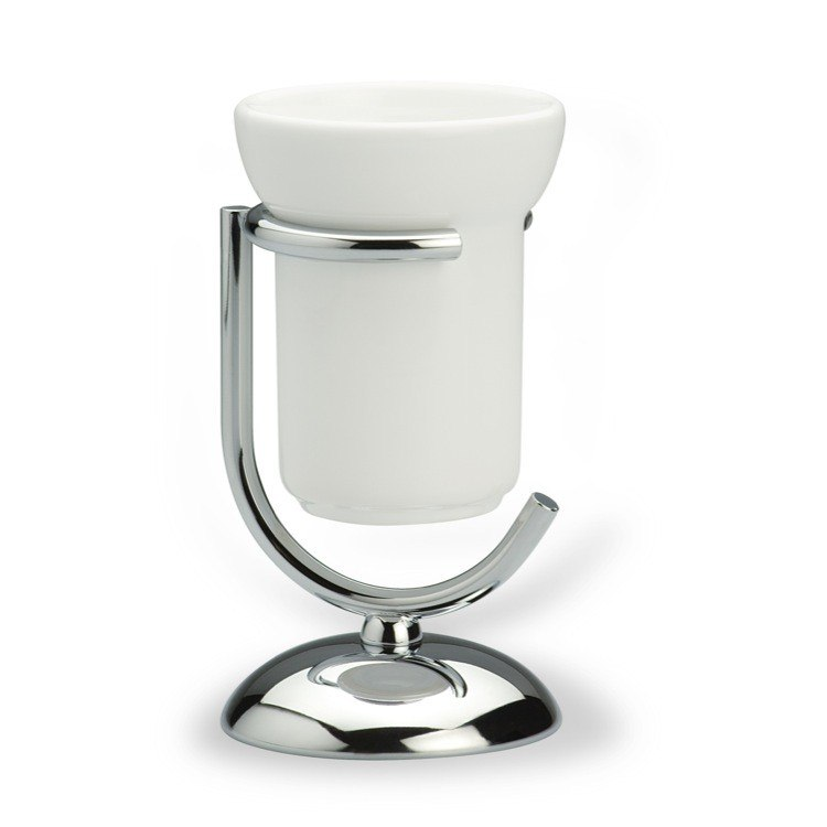 STILHAUS 520 ZOE COUNTER CERAMIC TOOTHBRUSH HOLDER WITH CHROME BASE