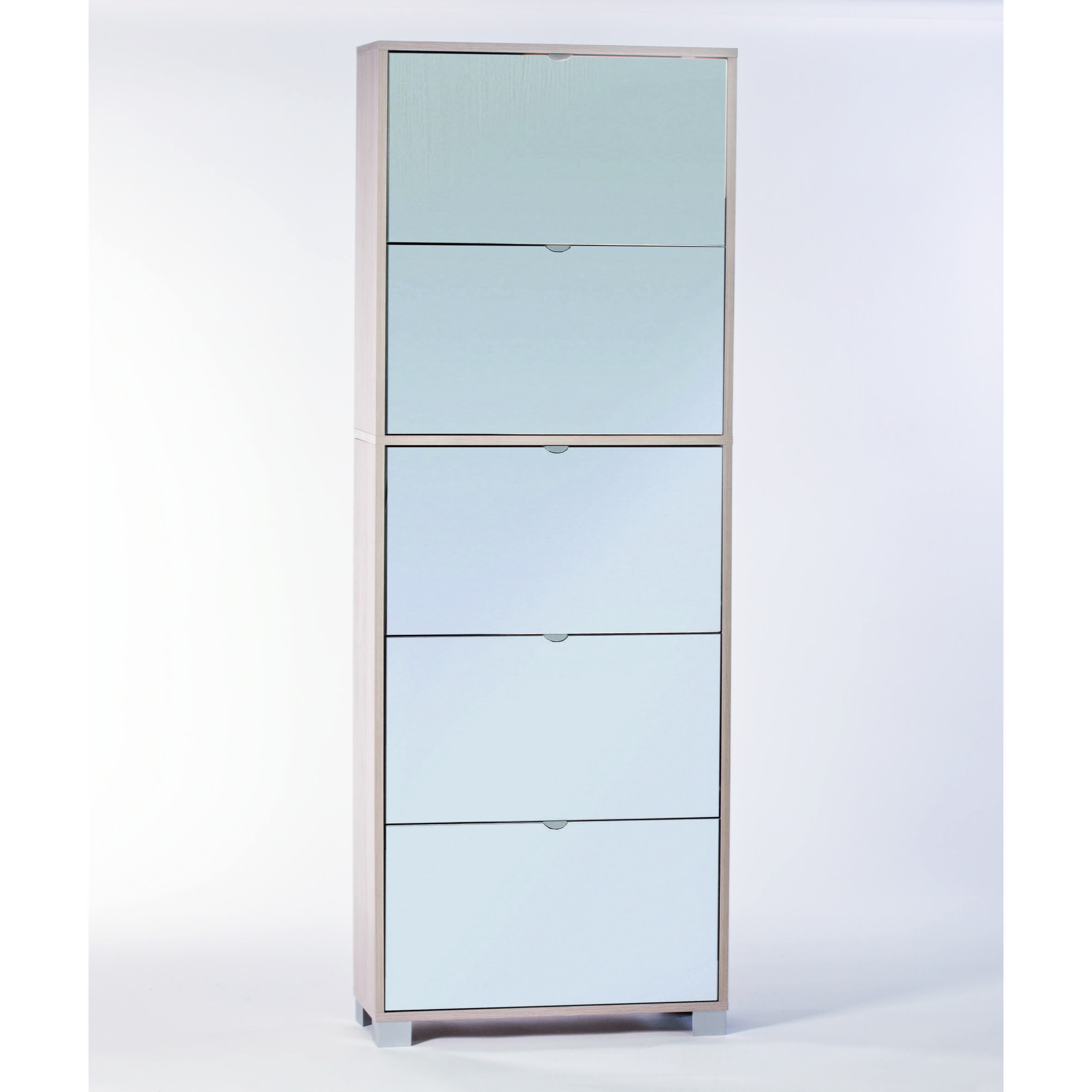 Sarmog A765SP Shoe Rack Collection 76 x 28 Inch Shoe Rack with 5 Double-Depth Mirror Folding Doors