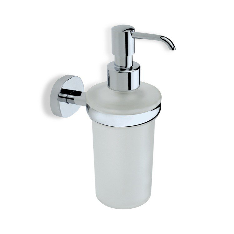 STILHAUS DI30 DIANA FROSTED GLASS SOAP DISPENSER WITH BRASS MOUNTING