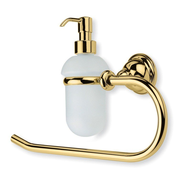 STILHAUS EL79 ELITE CLASSIC STYLE BRASS TOWEL RING WITH GLASS SOAP DISPENSER