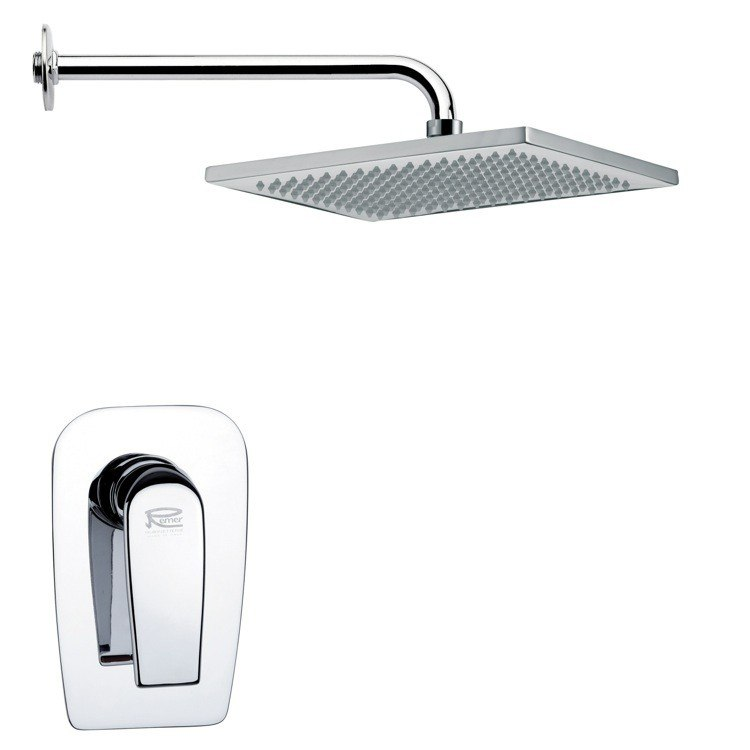 REMER SS1114 MARIO RECTANGULAR MODERN SHOWER FAUCET SET