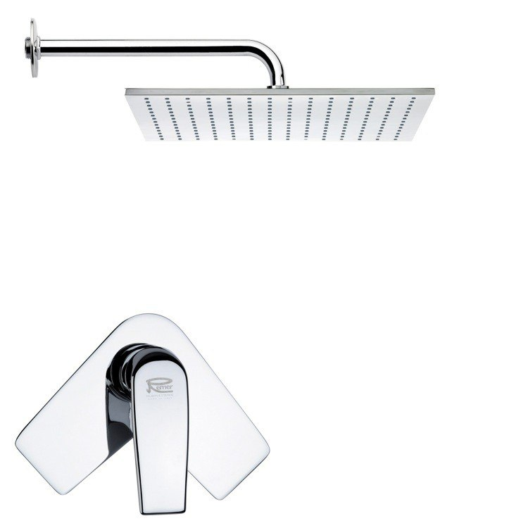 REMER SS1122 MARIO RECTANGULAR MODERN SHOWER FAUCET SET