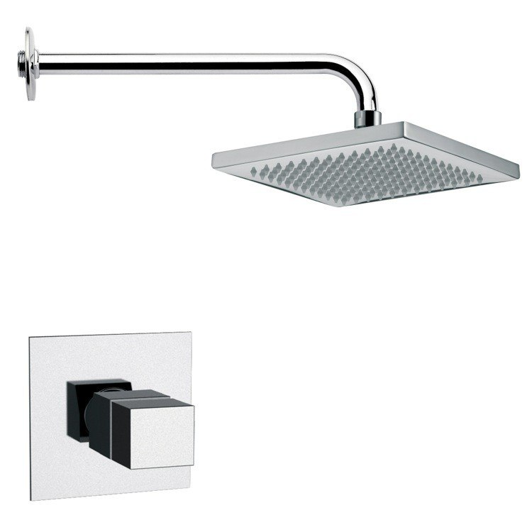 REMER SS1127 MARIO RECTANGULAR CONTEMPORARY SHOWER FAUCET SET
