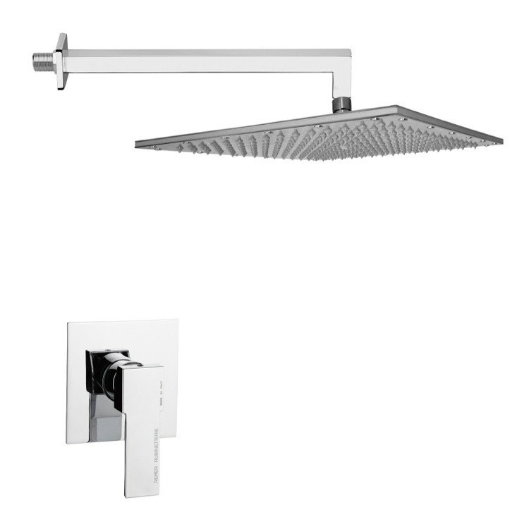 REMER SS1295 MARIO CONTEMPORARY RECTANGULAR SHOWER FAUCET SET