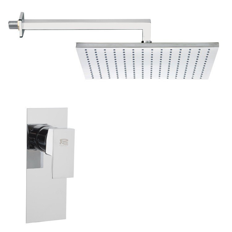 REMER SS1298 MARIO CONTEMPORARY RECTANGULAR SHOWER FAUCET SET