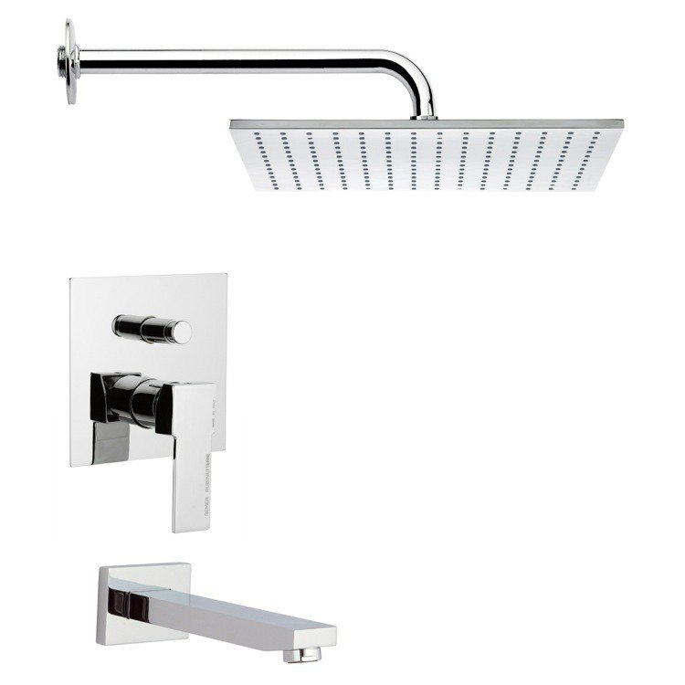 REMER TSF2121 PELEO CONTEMPORARY SQUARE TUB AND SHOWER FAUCET SET