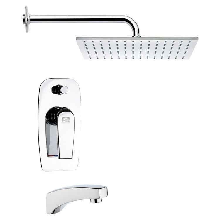 REMER TSF2123 PELEO CONTEMPORARY SQUARE TUB AND SHOWER FAUCET
