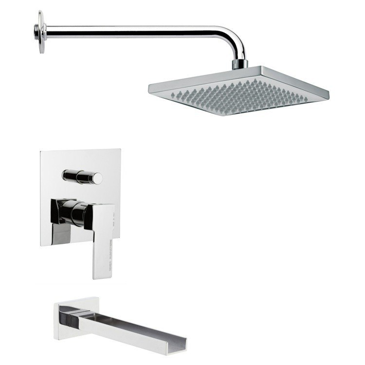 REMER TSF2125 PELEO CONTEMPORARY SQUARE TUB AND SHOWER FAUCET