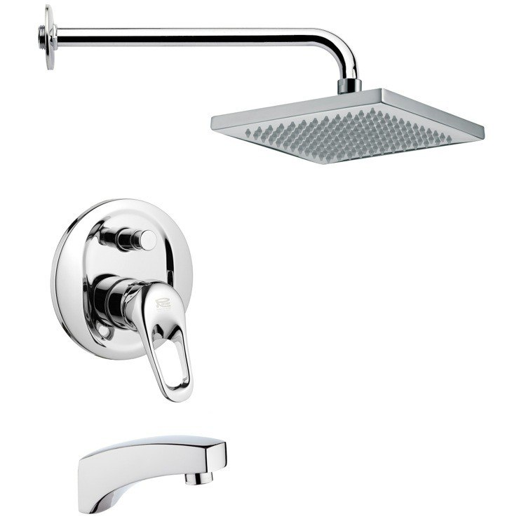 REMER TSF2128 PELEO SQUARE CONTEMPORARY TUB AND SHOWER FAUCET