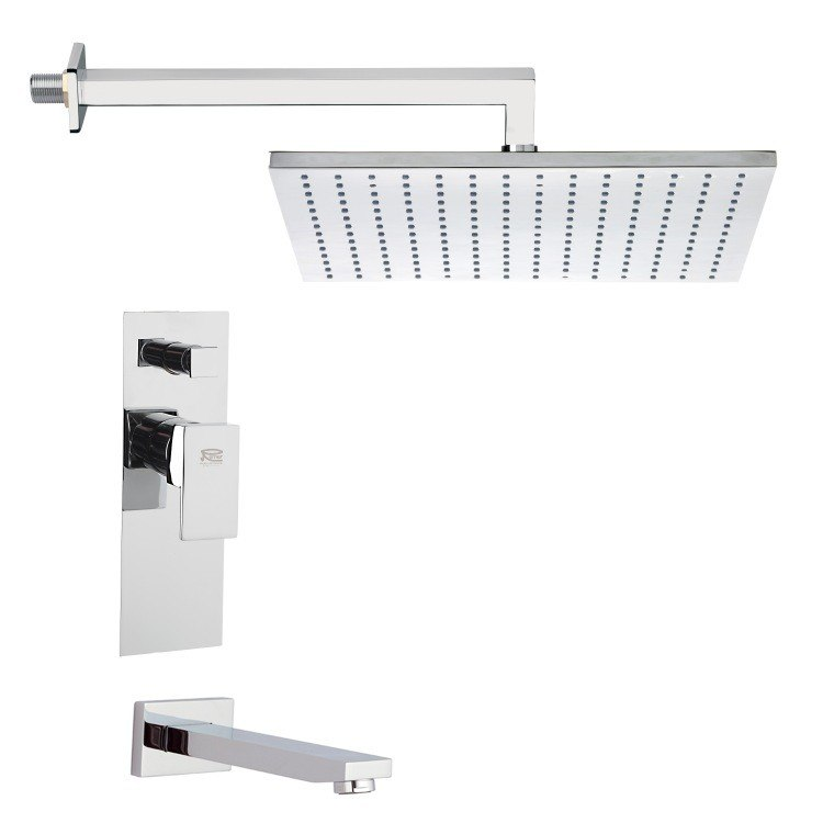 REMER TSF2298 PELEO MODERN SQUARE TUB AND SHOWER FAUCET SET