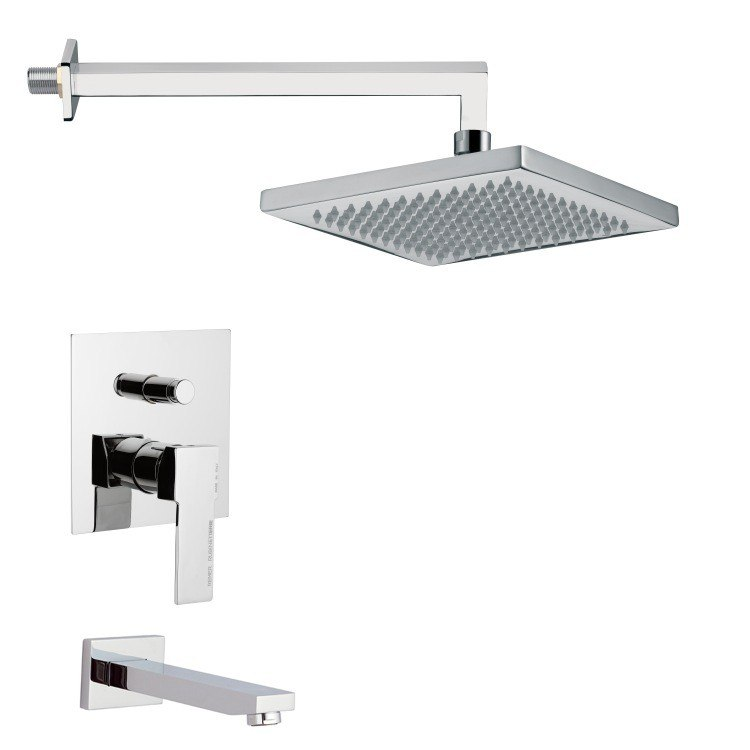 REMER TSF2299 PELEO MODERN SQUARE TUB AND SHOWER FAUCET