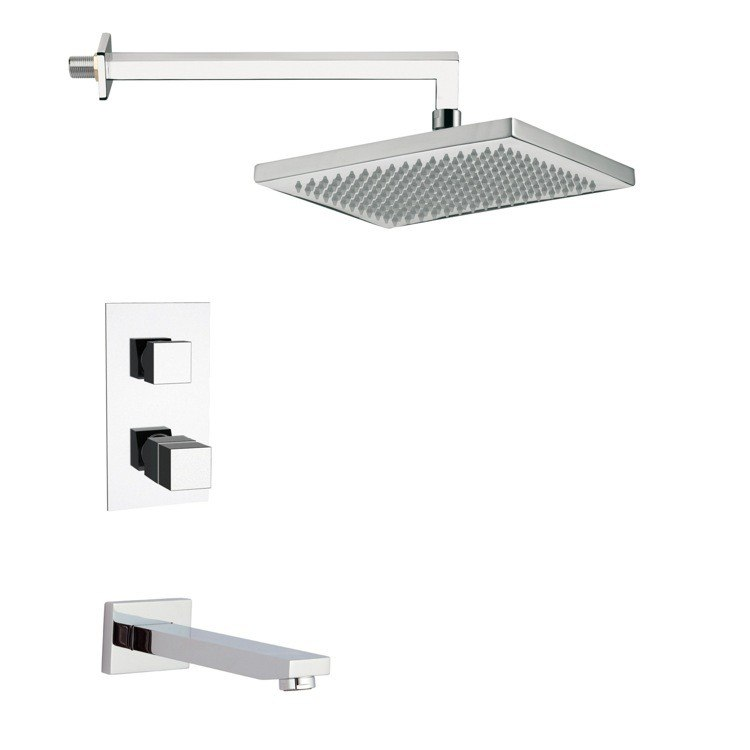 REMER TSF2403 PELEO SQUARE THERMOSTATIC TUB AND SHOWER FAUCET SET