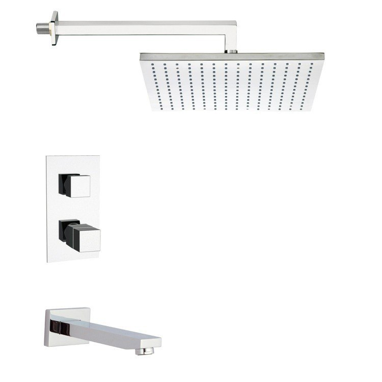 REMER TSF2404 PELEO SQUARE THERMOSTATIC TUB AND SHOWER FAUCET SET