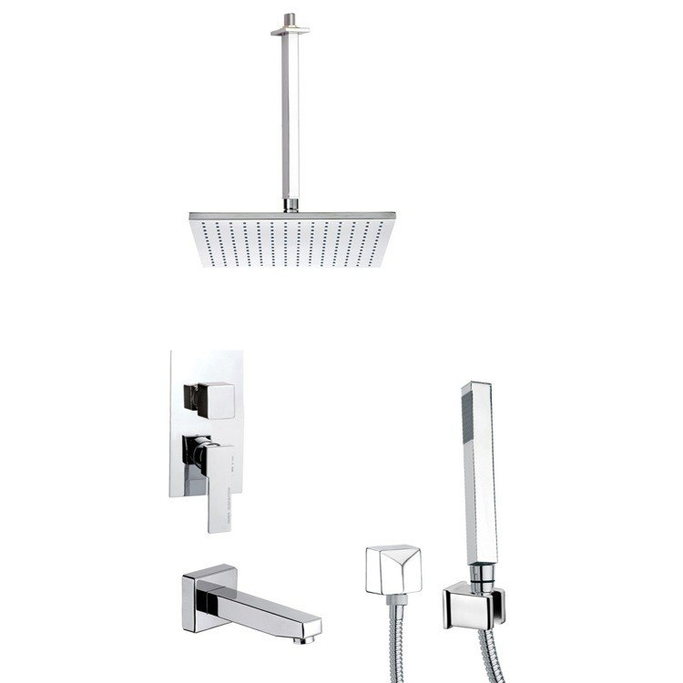 REMER TSH4507 INVERNO SLEEK TUB AND SHOWER FAUCET SET WITH SLIDING RAIL