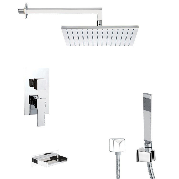 REMER TSH4510 INVERNO SQUARE TUB AND SHOWER FAUCET WITH SLIDING RAIL