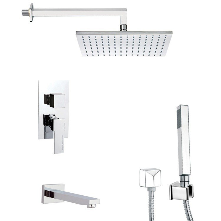 REMER TSH4512 INVERNO SQUARE THEMED TUB AND SHOWER FAUCET