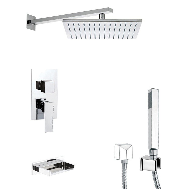 REMER TSH4513 INVERNO SLEEK TUB AND SHOWER FAUCET SET WITH SLIDING RAIL