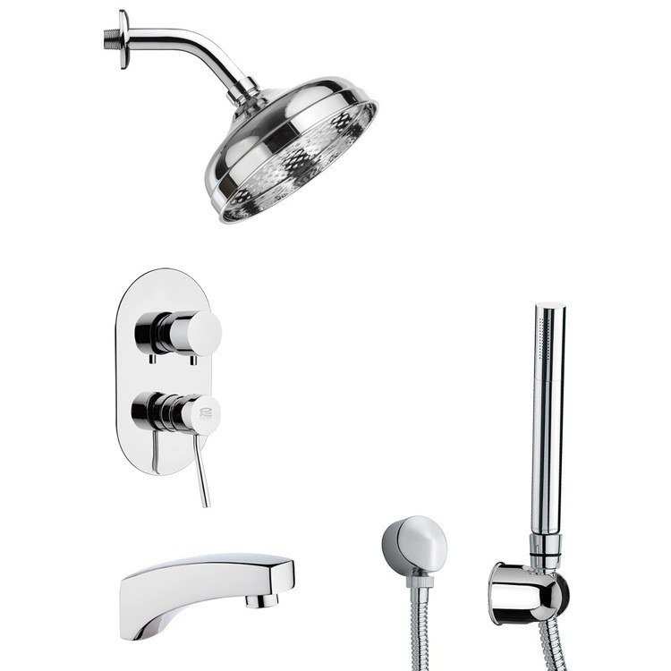 REMER TSH4529 INVERNO SLEEK TUB AND SHOWER FAUCET SET WITH SLIDING RAIL