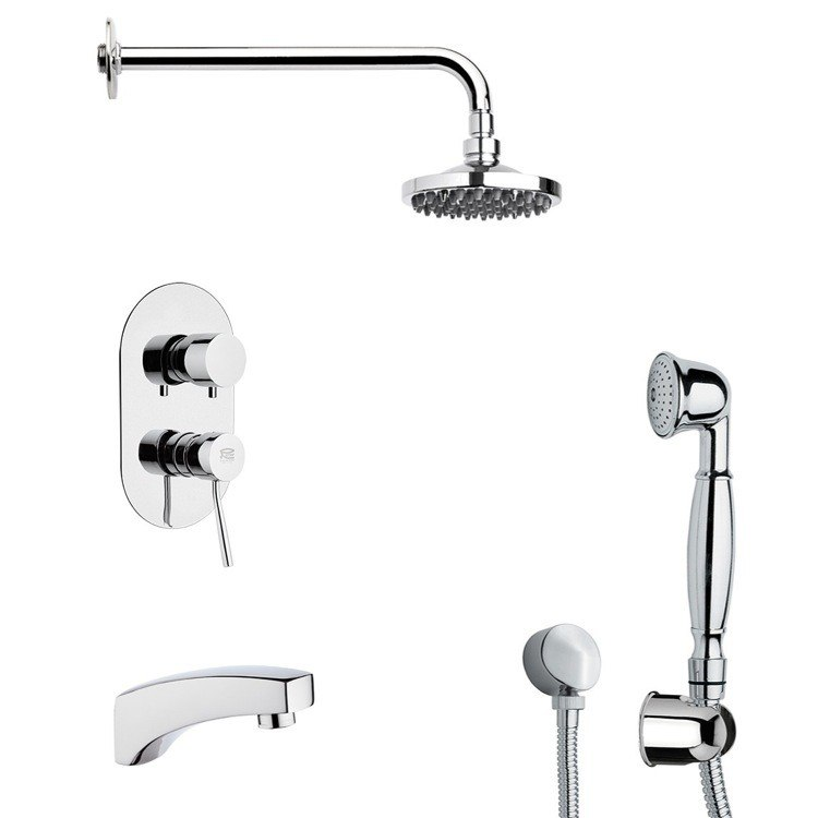 REMER TSH4533 INVERNO ROUND THEMED TUB AND SHOWER FAUCET SET WITH SLIDING RAIL