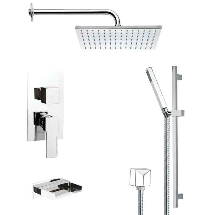 REMER TSR9099 GALIANO CONTEMPORARY TUB AND SHOWER FAUCET WITH SLIDE RAIL