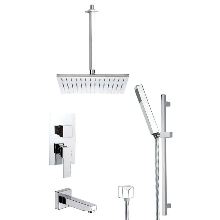 REMER TSR9507 ESTATE SLEEK TUB AND SHOWER FAUCET SET WITH SLIDING RAIL