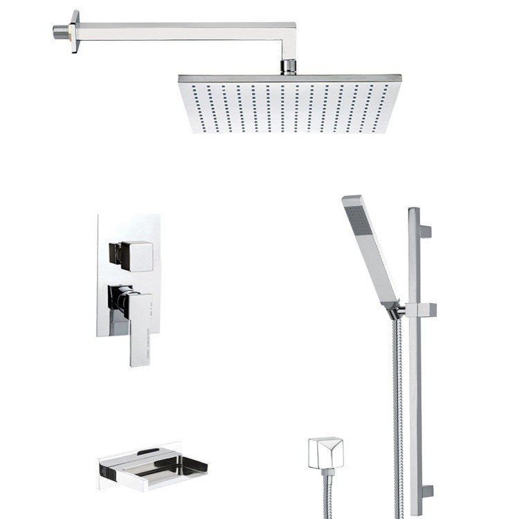 REMER TSR9510 ESTATE SQUARE TUB AND SHOWER FAUCET WITH SLIDING RAIL